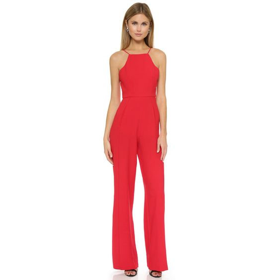 Black Halo Joaquin Jumpsuit (€360) ❤ liked on Polyvore featuring jumpsuits, wildfire, black jump suit, black wide leg jumpsuit, jump suit, spaghetti strap jumpsuit and wide leg jumpsuit