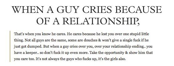 It's not always guys who fucked up the relationship!!