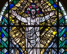 Stain glass window at Rosslyn Chapel