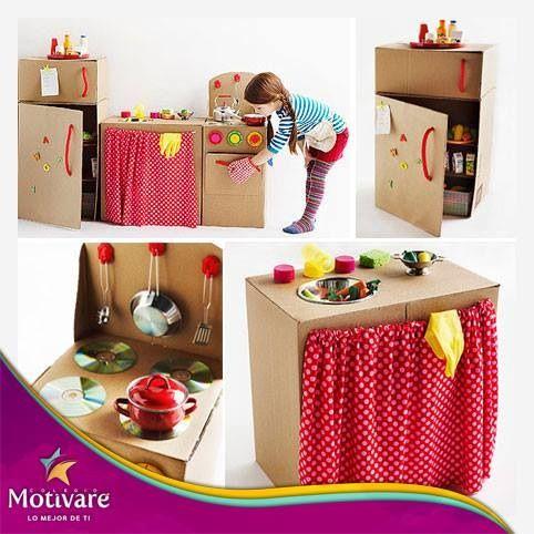 Aprovecha el cartón que tienes en casa y crea algo divertido para ellos.