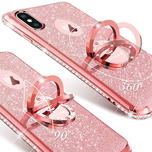 Iphone X Case Iphone 10 Case Glitter Cute Phone Case Girls With Kickstand Bling Diamond Rhinestone Bump Sparkle Phone Case Rose Gold Phone Case Iphone Cases