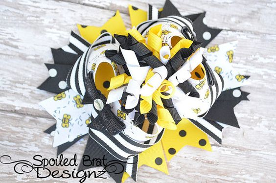 Bumble Bee Bow  Bow Diamonds Double Stacked by spoiledbratdesignz, $9.50