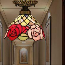 Tiffany lâmpada do teto, americano, Europeu Barroco, Med, Bohemia tiffany luz de montagem em superfície, 20 cm flor ceil lampTFC-015-20CM(China (Mainland))