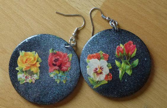 Nostalgie Ohrringe Blumen von Gurkenkoenigin auf Etsy, €7.00
