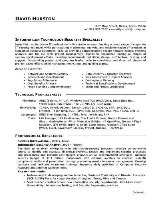 Information Technology It Sample Resume  Candidate Resources