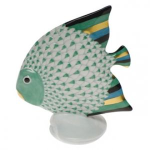 Herend Hand Painted Porcelain Figurine Fish on a Shell Green Fishnet Gold Accents.