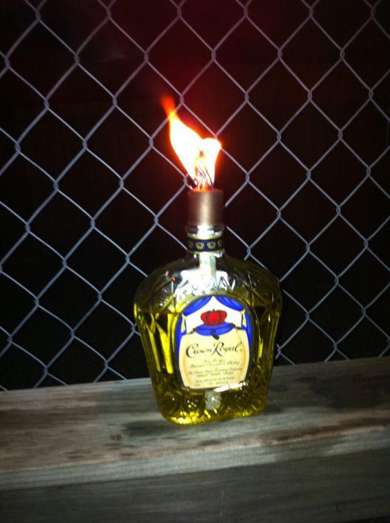 Homemade crown royal tiki torch crown royal pinterest for Diy beer bottle tiki torches
