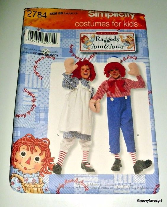 Simplicity 2784 Toddler Child Raggedy Ann and Andy Costume Pattern 3 ...