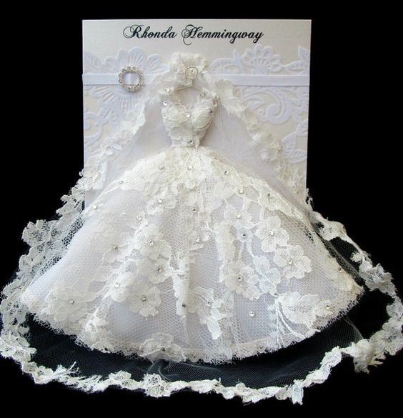 RESERVED CUSTOM ORDER for Rebecca / Bridal Wedding Dress Card / C5 Size / Handmade Greeting Card: