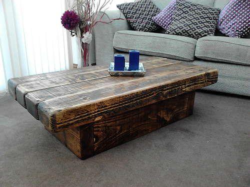 Pedestal rustic sleeper beam coffee table in rugger brown (120cm x 60cm 32cm) | eBay