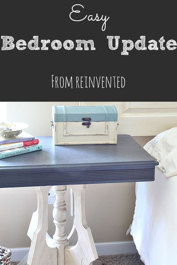 Quick and easy updates for your bedroom with leftover paint and fabric, and without spending any money!