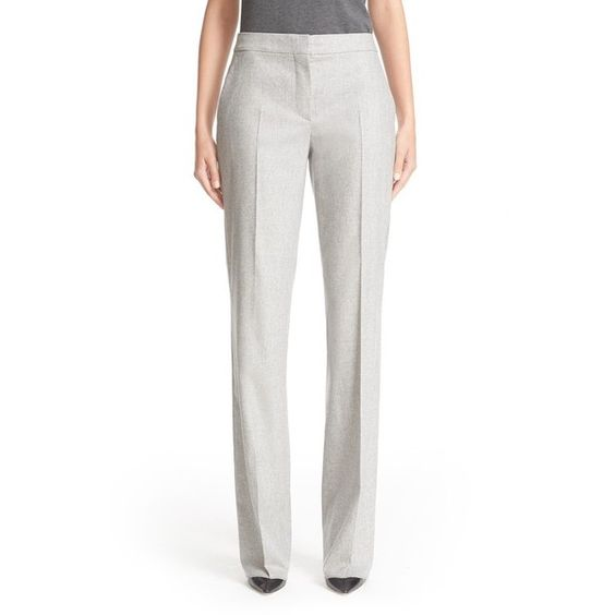 Women's Max Mara 'Polis' Stretch Wool & Cashmere Flannel Pants (€485) ❤ liked on Polyvore featuring pants, light grey, workwear pants, stretch pants, flannel pants, straight leg pants and light grey pants