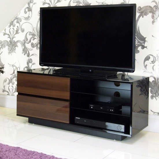 Century Glass Top Lcd Tv Stand In Walnut And High Gloss Black