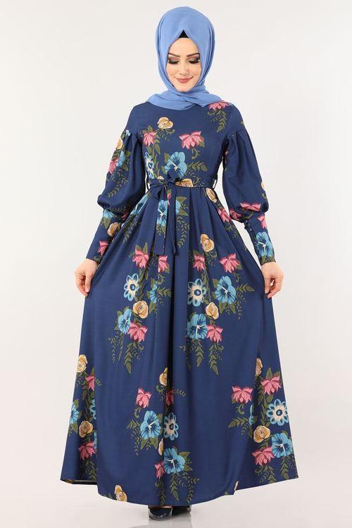 Modaselvim Elbise Desenli Balon Kol Elbise 2161ms212 Laci Pakaian Wanita Gaun Prom Panjang Baju Muslim