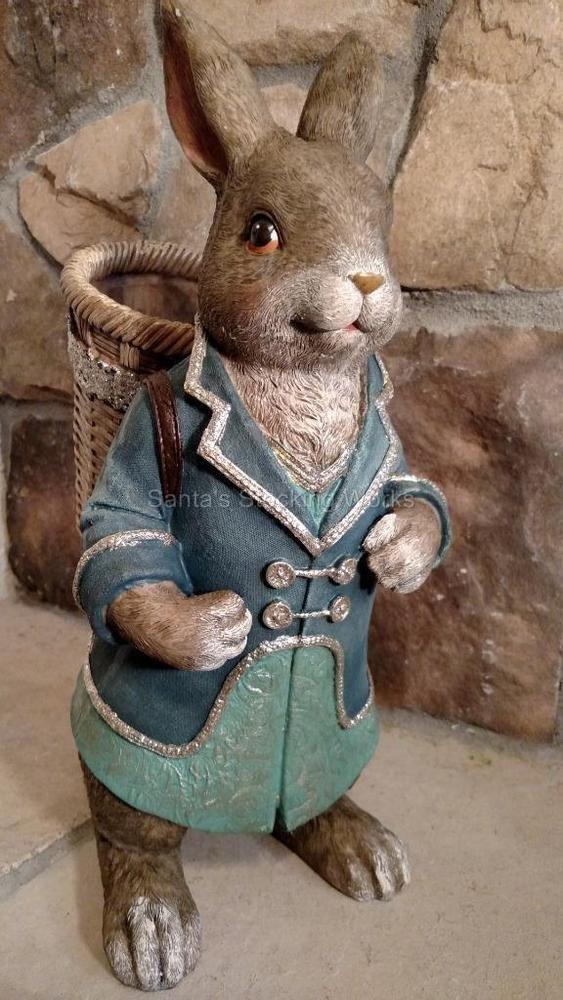"NIB Large 16/"" Blue Coat Boy Peter RABBIT Bunny Basket Easter Spring Decor Figure"