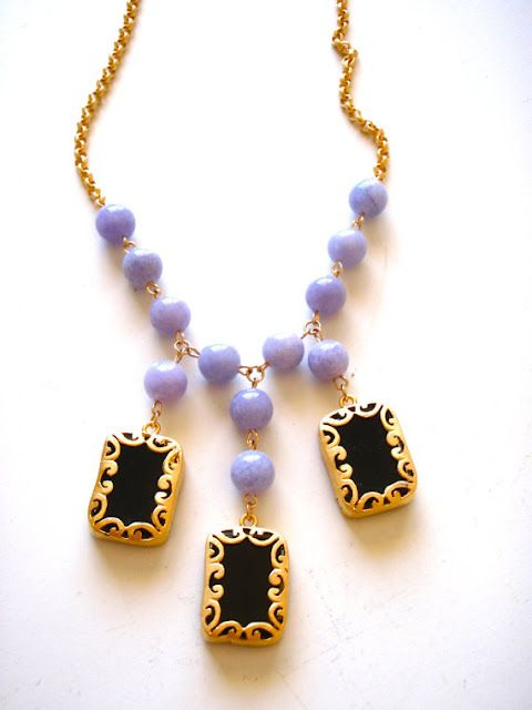 sadie+stella: Black Necklace, Fashion 2012, Jewelry, Necklaces, Black Purple, Lilacs
