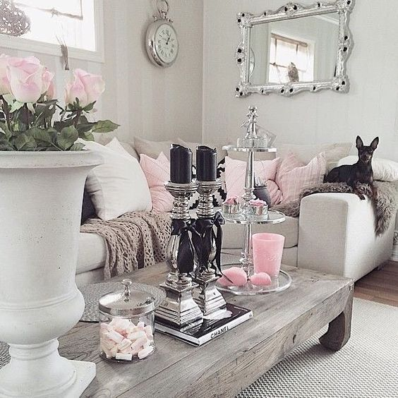 Beautiful Rustic Chic Living Room Decoration shabby chic