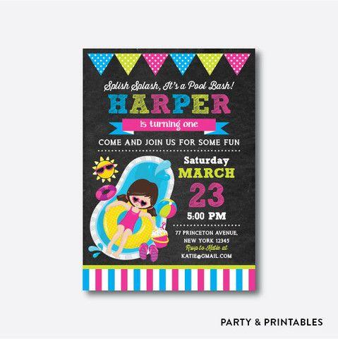 Pool Party Girl Chalkboard Kids Birthday Invitation / Personalized (CKB.377)