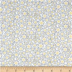 Telio Morocco Blues Stretch Cotton Shirting Popcorn Floral Print Yellow