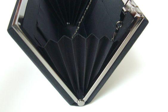Black silk handbag or clutch purse 1980s vintage by StyledinJapan
