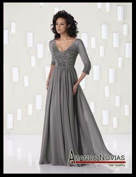 Mother of the Bride Long Dresses with Jacket chiffon - Grey long ...