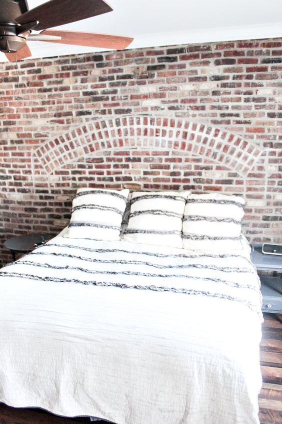 Master bedroom brick wall decor bedrooms pinterest for Exposed brick wall mural