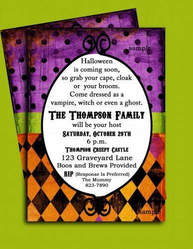 Halloween whimsical invitation for family party or any Halloween event