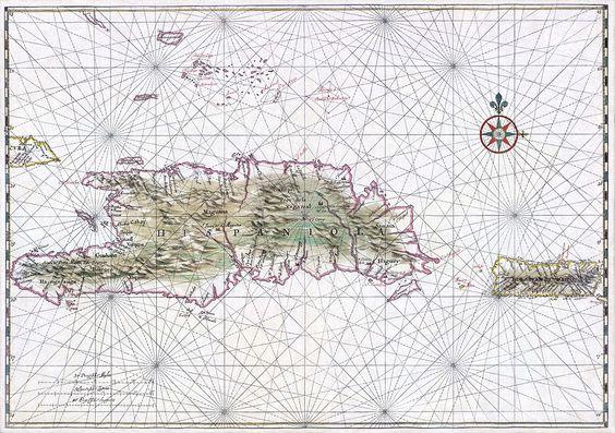 Carta náutica de La Española y Puerto Rico, circa 1639.