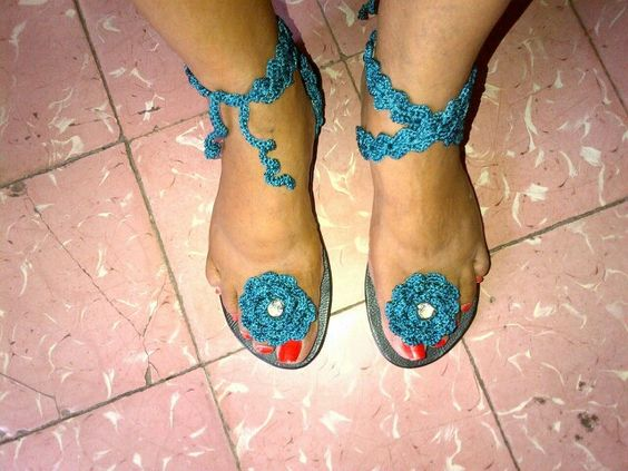 Crotchet sandals.  Nice