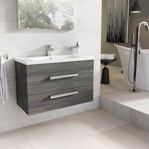 Belfry Bathroom Whitfield 800mm Wall Mount Vanity Unit Wall Mounted Vanity Vanity Units Grey Bathroom Furniture