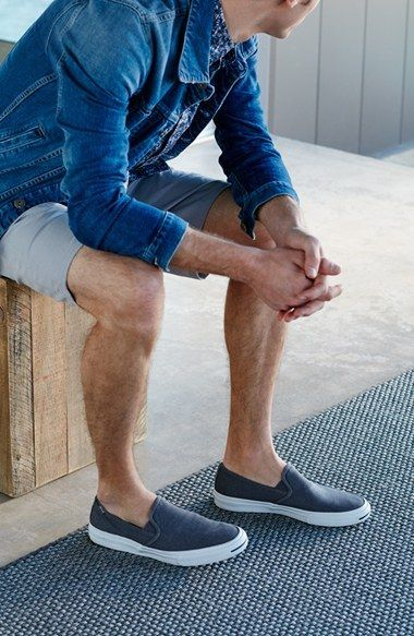 Shorts & Slipons by men at holidays