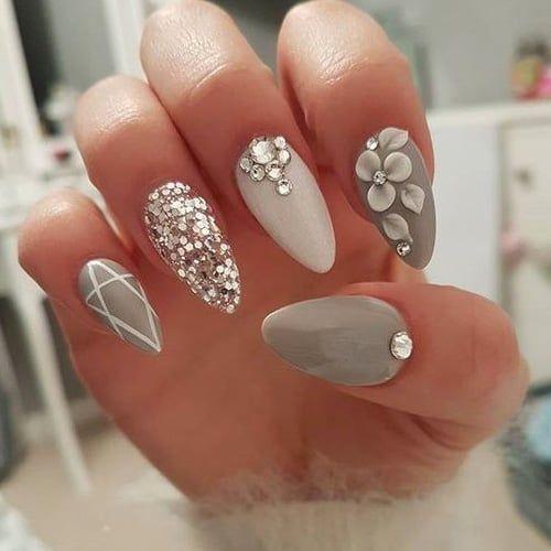 Imagem De Nails Beauty And White Crystal Nails Nail Designs Gorgeous Nails