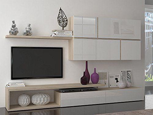 Ideakit 21610170a Ensemble Murale Meuble Tv Etagere Meuble Suspendu Blanc Laque Chene Sonoma 270 X 40 X 200 C En 2020 Meuble Tv Meuble Suspendu Meuble Tv Mural Design