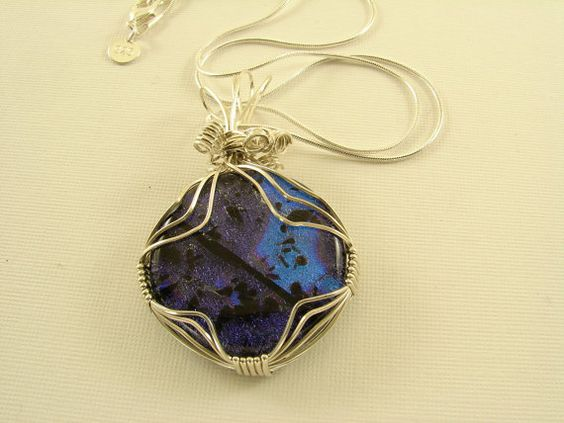 Sterling Silver Wire Wrapped Dichroic by SilverStringsStrands, $35.00