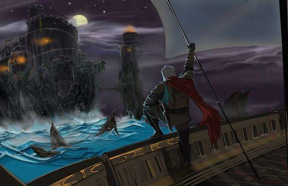 Davos Seaworth llegando a Bastión de Tormentas durante la Rebelión de Robert, por Murushierago