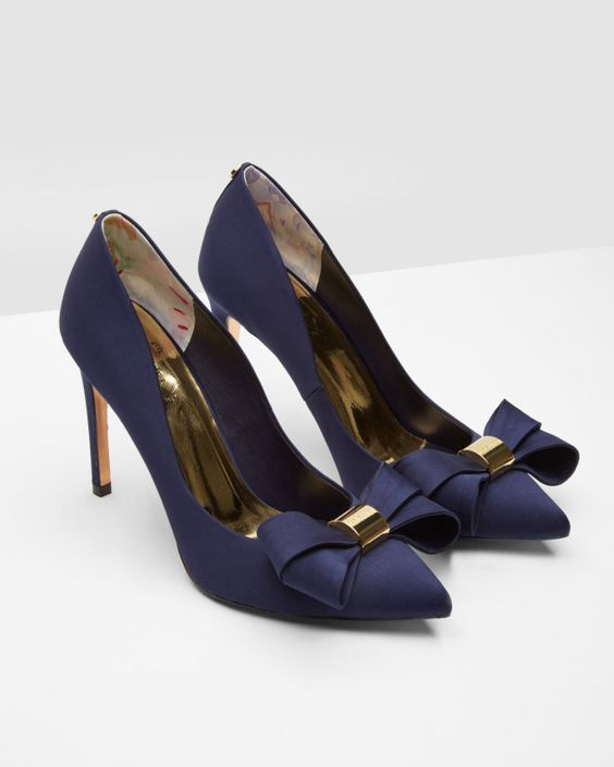 Statement bow court shoes - Dark Blue | Footwear | Ted Baker UK