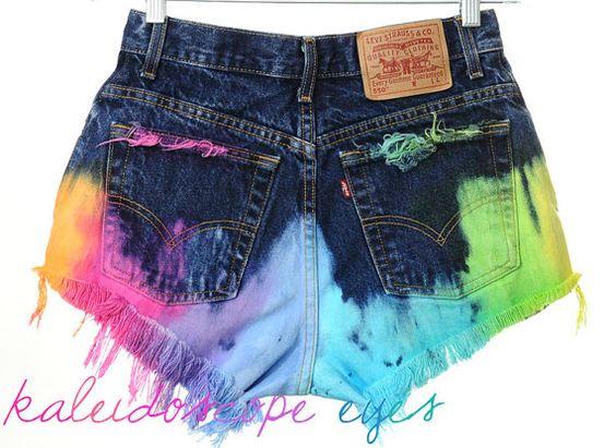 Vintage LEVIS High Waist RAINBOW OMBRE Dyed Denim Cut Off Shorts M