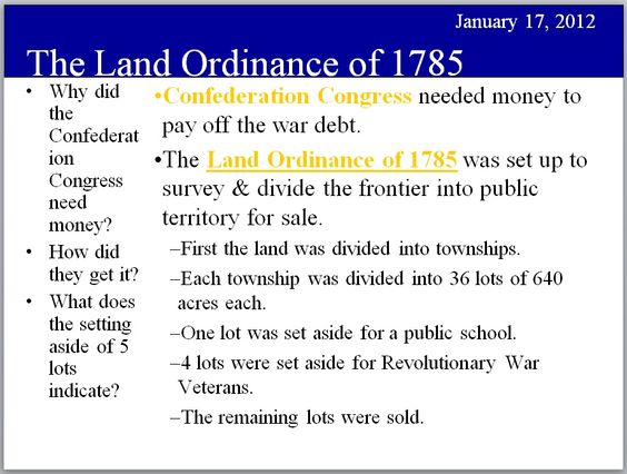 land ordinance of 1785 and northwest ordinance of 1787 - Google Search