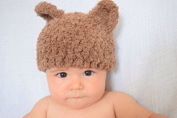 Crochet Baby Hat Cap Bear Winter New Baby Gift Baby Shower Present  by FatFoxDesigns on Etsy