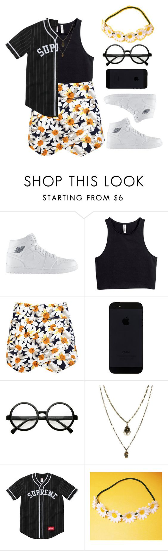"""""""Flower power"""" by idcmyaa ❤ liked on Polyvore featuring NIKE, H&M, Retrò and Jamie Jewellery"""