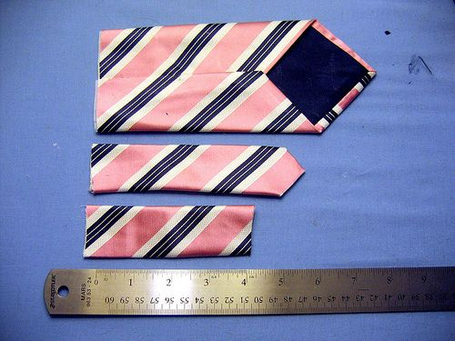 Making a boy's tie from a man's tie. Could buy 2 of the same mens ties for a matching father/son outfit.