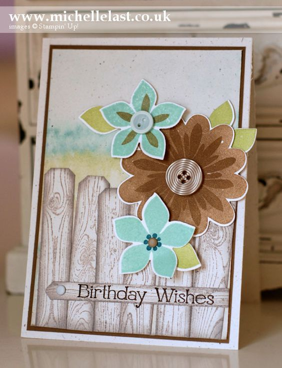 Stampin Up Flower Patch & Hardwood birthday card by Michelle Last