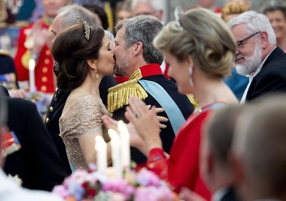 Crown Prince Frederik's 50th birthday celebrations. Crown Princess Mary and Crown Prince Frederik exchanged a kiss on his birthday.