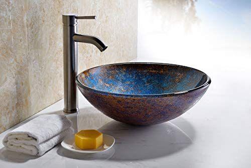 Anzzi Stellar Series Modern Tempered Glass Vessel Bowl Sink In Sapphire Burst Blue Navy Brown Top Mount Bathroom Sinks Farmhouse Goals Glass Material Top Mount Bathroom Sink Round Sink