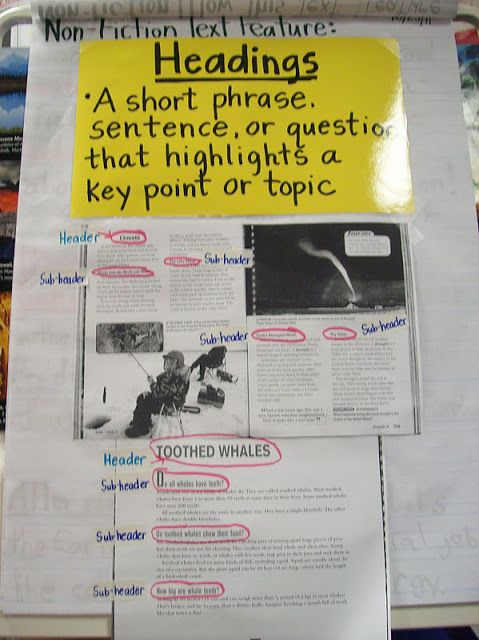 Anchor Classroom Decor ~ Heading subheading anchor chart charts