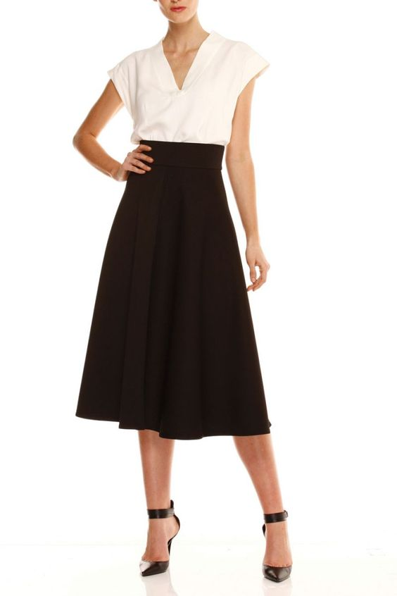 A Line / Full - Quilted Skirt in Black - Sacha Drake