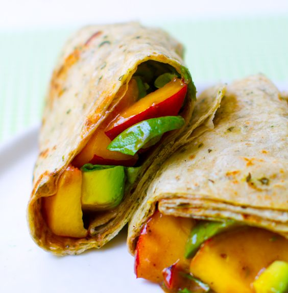 Peach Basil Avocado Balsamic Wrap or Skewers. Mango would  be nice too!