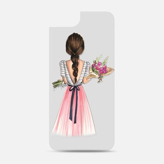 Bouquet (Brunette Option 4/4, Fashion Illustration Transparent Case) Backplate