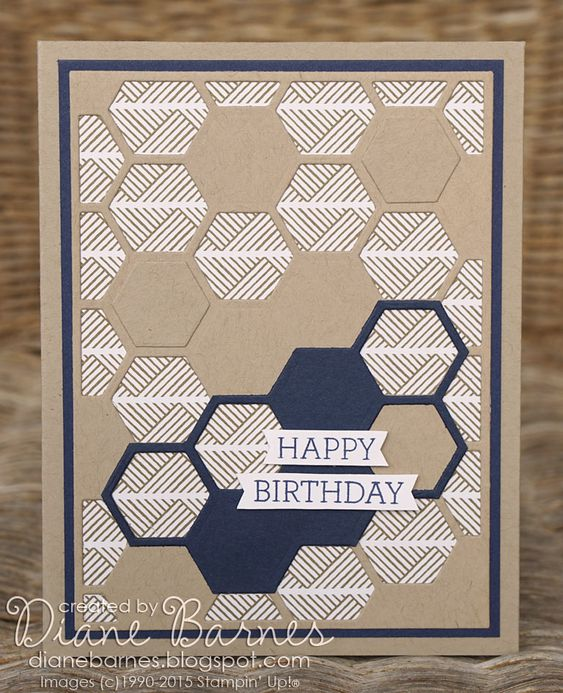 Stampin Up hexagon hive masculine birthday card by Di Barnes #colourmehappy for just add ink challenge 249