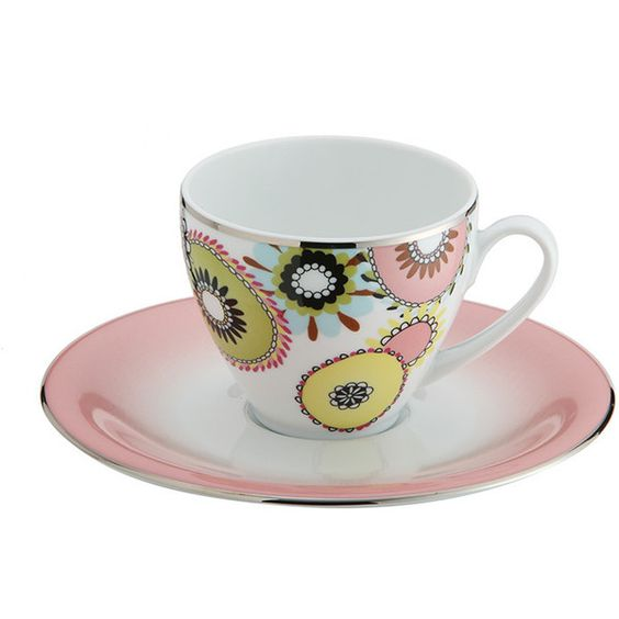 Missoni Home Margherita - Teacup & Saucer - (Set of 2) (18240 RSD) ❤ liked on Polyvore featuring home, kitchen & dining, drinkware, multi, porcelain tea cups and saucers, missoni home, twin pack, couple cups and porcelain cups